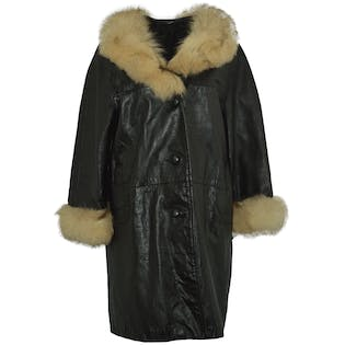 70's Brown Leather Coat with Fur Trim