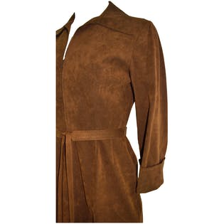 70's Brown Suede Dress by Mollie Parnis