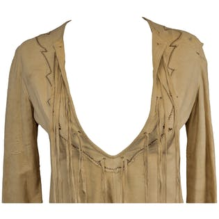 70's Tan Leather Fringe Shirt by Mr. G