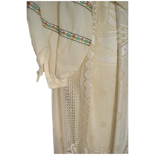70's Cream Peasant Top with Fringe Skirt