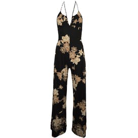 70's Floral Disco Jumpsuit by Frederick's of Hollywood