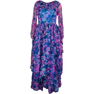 70's Full Length Floral Dress
