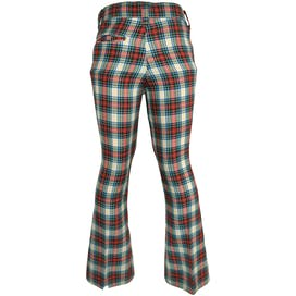 70's Green, Red, Blue Plaid Flare Pants by Farah