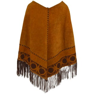 70's Leather Fringe Cape by NONE