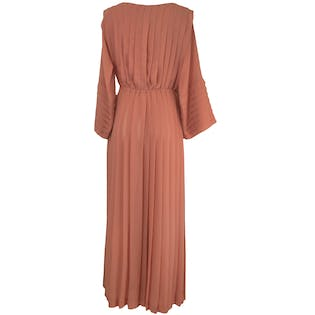 70's Light Pink Maxi Dress with Pleats and Keyhole by Jack Bryan