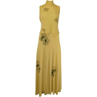 70's Light Yellow Two Piece with Floral Design