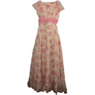 70's Pink Floral Dress with Bottom and Top Ruffle