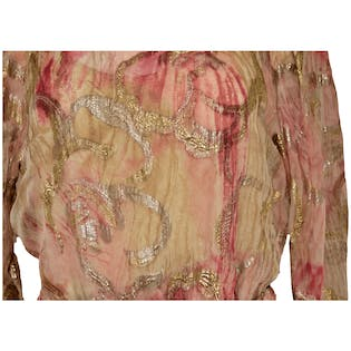 70's Pink and Gold Patterned Two Piece with Jewel Embroidered Top by The Silk Farm