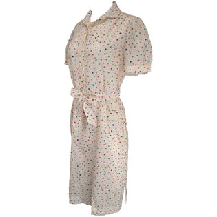 70's Polka Dot House Dress with Belt by Lanvin
