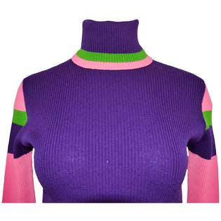 70's Purple, Pink and Green Turtleneck