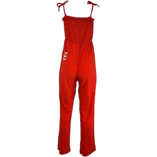 70's Red Terrycloth Jumpsuit