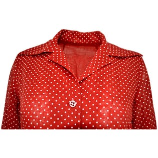 70's Western Red Polka Dot Dress with Fringe and Belt