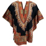 70's Batik Dashiki Black Shirtby Butterfly