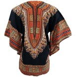 another view of 70's Batik Dashiki Black Shirtby Butterfly