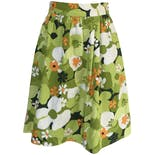 70's Green and Orange Floral Print Skirt