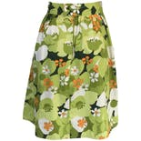 another view of 70's Green and Orange Floral Print Skirt