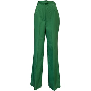 70's Bright Green Wide Leg Pants by Koret Of California