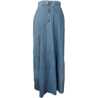 70's Denim Maxi Skirt with Floral Embroidery by Body English