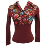 70's Floral Collared Burgundy Blouse