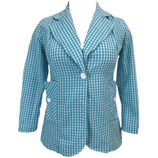 70's Blue and White Gingham Blazer