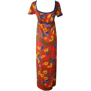 70's Hawaiian Floral Full Length Dress