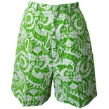 70's Lime Green Print Shorts by Grants