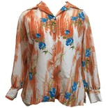 70's Orange and Blue Floral Print Button Up by Lady Pykettes