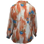 another view of 70's Orange and Blue Floral Print Button Up by Lady Pykettes