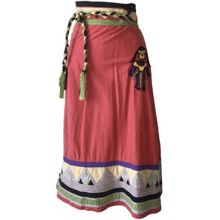 70's Pink Native American Embroidered Skirt