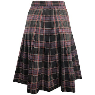 70's Purple and Red Wool Pleated Plaid Skirt by Givenchy