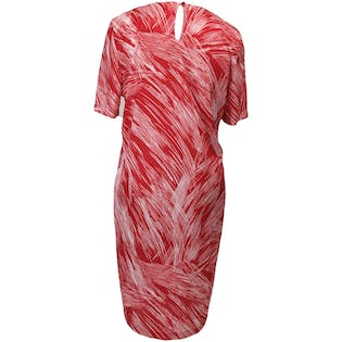 70's Red and White Abstract Print Dress