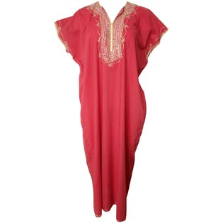 70's Red Caftan with White and Gold Embroidery