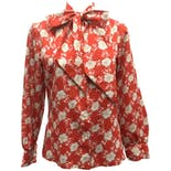 70's Red Floral Print Neck Tie Button Upby Alice Stuart of Johnathan Logan