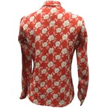 another view of 70's Red Floral Print Neck Tie Button Upby Alice Stuart of Johnathan Logan