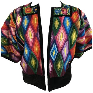 70's Velvet Embroidered Huipol Jacket Rainbow Colors by