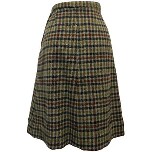 70's Wool Plaid A-Line Skirt
