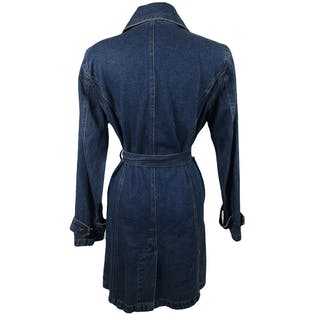 80's Denim Double Breasted Trench Style Coat by Bill Blass Jeans