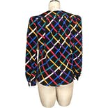 another view of 80's/90's Colorful Grid Pattern Blouse by Albert Nippon