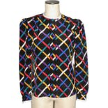 80's/90's Colorful Grid Pattern Blouse by Albert Nippon