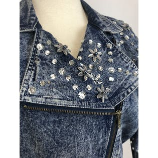 80's Acid Wash Rhinestone Studded Jacket