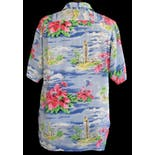 another view of 80's Aloha Tower Hawaii Souvenir Silk Shirt by Avanti