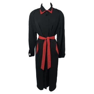 80's Black and Red Trim Trench Coat by Seng Li