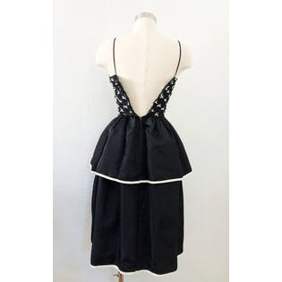 80's Black Bow Party Dress by Sweet Talk