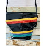 another view of 80's Black Patent Leather and Multicolor Snakeskin Striped Purse by Diane Von Furstenberg