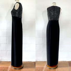 80's Black Sequined Dress by Evan Picone