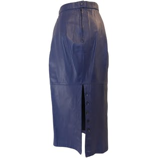 80's High Waisted Blue Leather Pencil Skirt with Buttoned Back Slit by Giii
