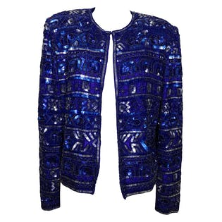 80's Blue Sequin Jacket by Papelli Boutique