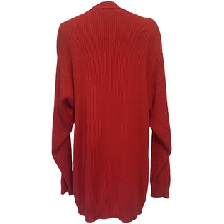 80's Cherry Red Oversized Cardigan by Liz Sport