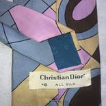 another view of 80's Silk Geometric Print Tie by Christian Dior
