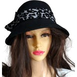 80's Leopard Accent Wool Hat by Scala Collezione